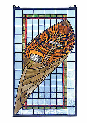 WOOD CANOE 15x25 GUIDEBOAT Tiffany Style Stained Glass Window NEW