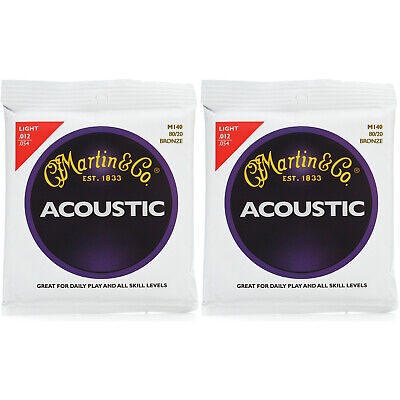 New Martin M140 80/20 Bronze Acoustic Guitar Strings, Light - 2 Pack +Ships Free