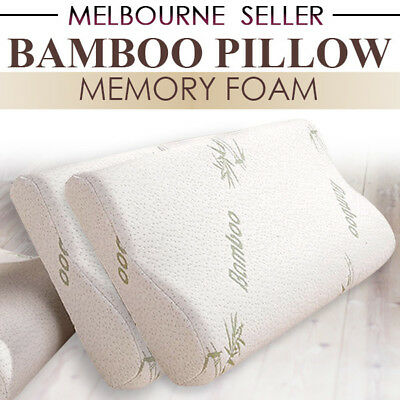 2X 1X Vertebrae Care Bamboo Cover Contour Pillow Memory Foam Fabric 50 x 30cm
