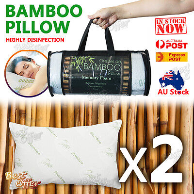 Disinfection Bamboo Pillow Memory Foam Fabric Fibre Cover Contour 70 x 40cm