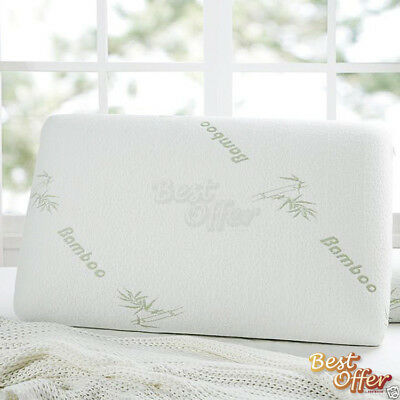 Vertebrae Care Large Bamboo Contour Pillow Memory Foam Firm Fabric 67 x 40 cm