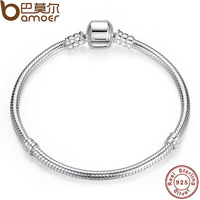 BAMOER 925 Sterling Silver Snake Bracelet Smooth Clasp European Charm Jewelry