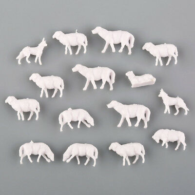 60pcs 1:87 UnPainted White Farm Animals Sheep Collie Dog Shepherd HO New