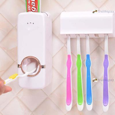 Automatic Toothpaste Dispenser And 5 Toothbrush Holder Set Wall Mount Rack Fb