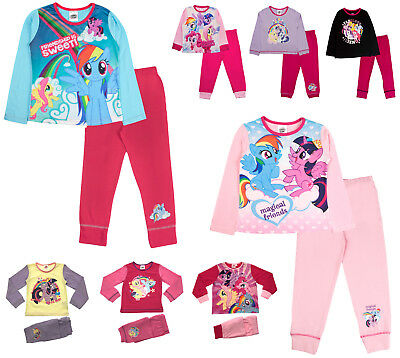 Kids Girls Pyjamas My Little Pony Long 2 Piece Long Pj's Set MLP Childrens Size