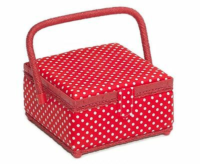 Hobby Gift MRS/19 White Spot Print/Red Small Sewing Storage Box 20 x 20 x 11cm