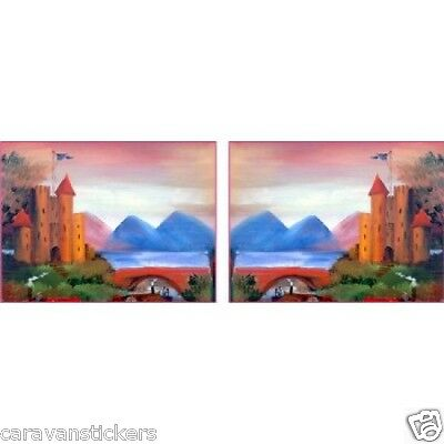 Castle Scene Narrowboat Stickers Decals Graphics LANDSCAPE STYLE 1 - PAIR