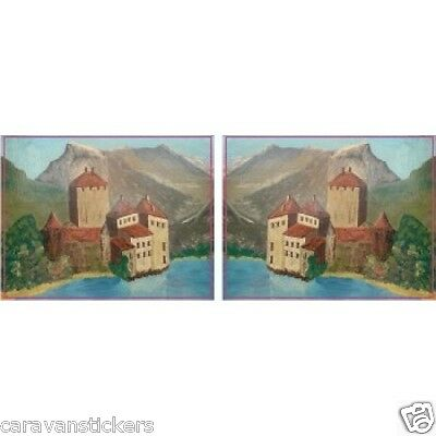 Castle Scene Narrowboat Stickers Decals Graphics LANDSCAPE STYLE 5 - PAIR