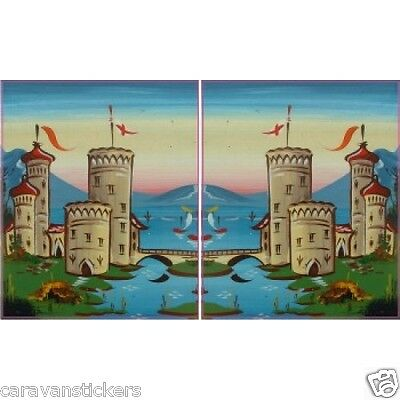 Castle Scene Narrowboat Stickers Decals Graphics PORTRAIT STYLE 3 - PAIR
