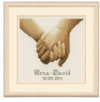 Vervaco 2002/75.336 Holding Hands Wedding Record Counted Cross Stitch 14x16cm