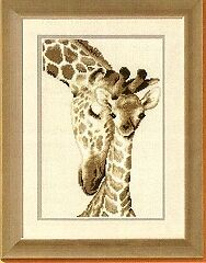 Vervaco 2002/75.444 Giraffe Family Picture Counted Cross Stitch Kit 19 x 28cm