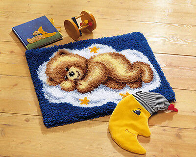 NEW Vervaco 2565/38.012 | Sleeping Teddy On Cloud Rug Latch Hook Kit | 50 x 40cm