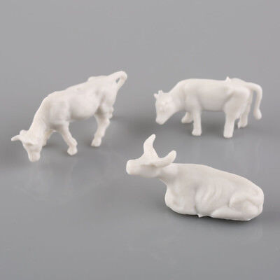 50pcs 1:87 UnPainted White Farm Animals Cows Different Poses HO Scale