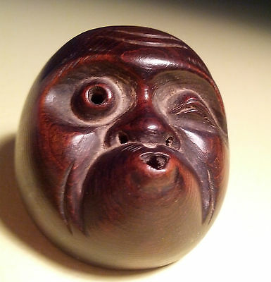 "Antique, Boxwood, Fine, Signed, Japanese Netsuke Mask (Mennetsuke) ""Hyottoko"" 火男"
