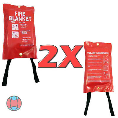 2X Red Case 1M X 1M Fire Blankets for Office / Shop / Kitchen / House Etc