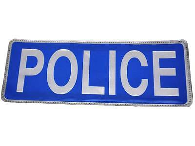 Blue POLICE Reflective Badge with Velcro (Large) Bags Jackets Vests Officer Cop