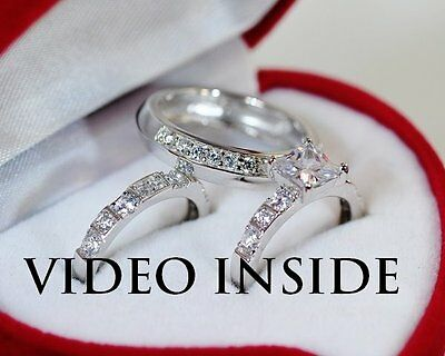 3.8ct Princess Solitaire Created Diamond Engagement Real 925 Silver Ring