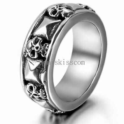 Punk Men's Skull Pyramid Gothic Biker Stainless Steel Ring Combination Cast Band