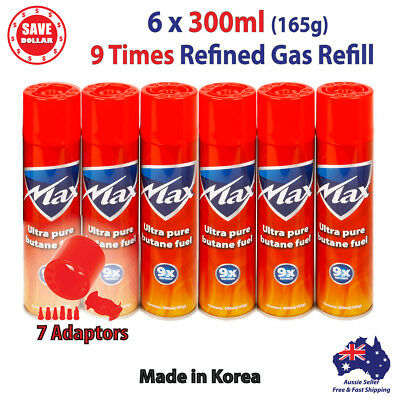 6x 300ml Butane Gas Refill GENUINE MAX Jet Lighter 9X REFINED Bottle Blowtorch