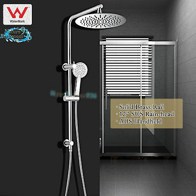 5 Function Hand Held Spray Rainfall Twin Shower Head System Sliding Wall Rail