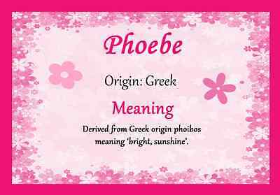 Phoebe Personalised Name Meaning Certificate