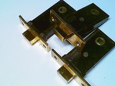 Vintage Yale Door Deadbolt Lock inserts- Refurbished-brass- 3 pieces-FREESHIP