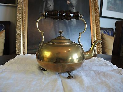 Very fine antique circa 1900 British brass toddy kettle with amber glass handle