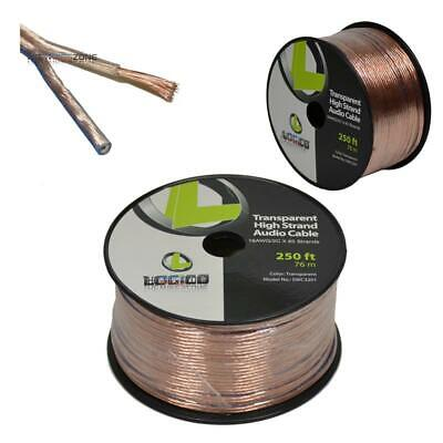 16 Gauge AWG 2 Conductor Stranded 250' Feet Transparent Speaker Wire Audio Cable