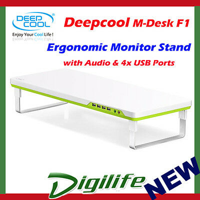 "Deepcool M-Desk F1 Monitor Stand up to 27"" & 10kg with Audio & 4 x USB Hub"