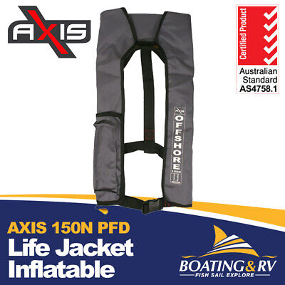 1 x Life Jacket Manual Inflatable PFD 1 Axis Offshore 150N - Grey Safety Vest