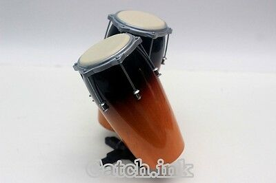 Conga Drum Set Acoustic Musical Percussion Instrument Miniature For Display Only