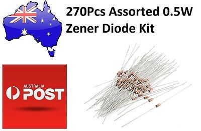 270Pcs 27 Values Assorted 0.5W Zener Diode Kit (Arduino/PIC) AU Stock