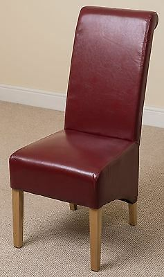 Montana Scroll Back Red Leather Dining Room Chairs Kitchen Leather Chairs