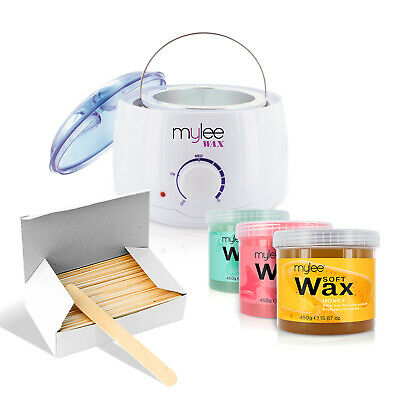 Mylee Depilatory Waxing Kit Heater Wax Pot Spatulas Hair Removal Set Salon