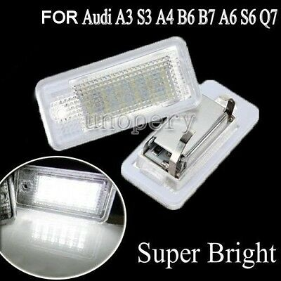 2x LED Free Error 6000K License Number Plate Light For Audi A3 A4 B6 B7 A6 A8 Q7