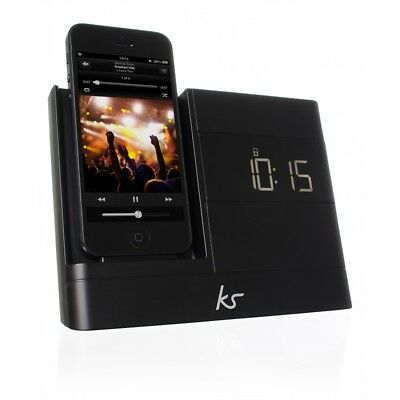 KitSound X-Dock 2 Lightning Connector Clock Radio Dock for iPhone 5 6 Black