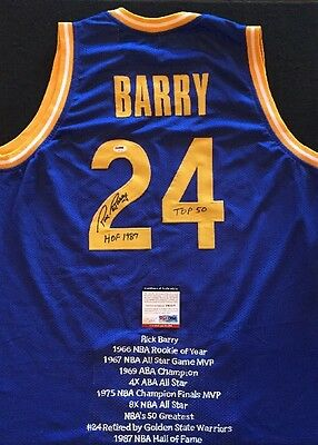 1b04b556f RICK BARRY GOLDEN STATE WARRIORS Blue SIGNED STAT Jersey PSA DNA LEGENDARY