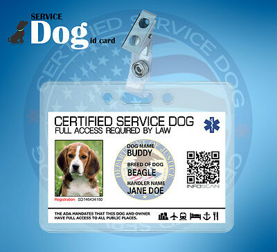 SERVICE DOG ID CARD FOR SERVICE ANIMAL with CLIP AND HOLDER ADA LAW ESA MEDICAL
