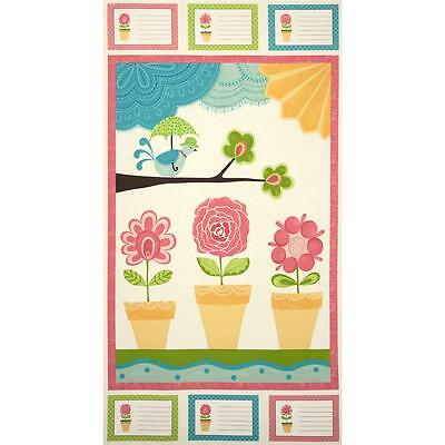 """Quilting Fabric Panel Chance of Flowers Sandy Gervias Panel 22"""" x 44"""" Cotton New"""