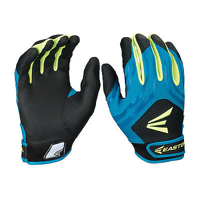 Easton HF3 Hyperskin Women's Fastpitch Batting Gloves - Black/Teal/Optic - Small