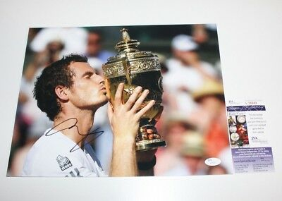 Andy Murray Hand Signed Authentic 11X14 Photo Jsa Coa 2013 Wimbledon Champ