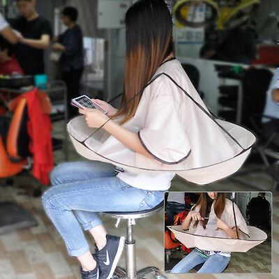Waterproof Adult Hair Cutting Fold Umbrella Cape Salon Barber Hairdressing Gown