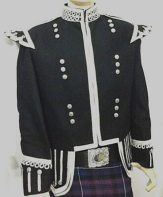 Piper & Drummer Fancy Doublet Black With Silver Braid & White piping.