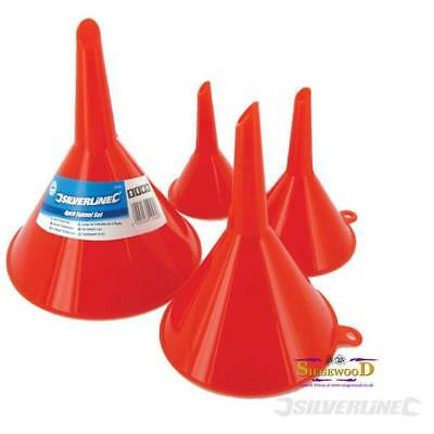 4pc Funnel Set - Oil Filling Fuel Draining Garage Home Plastic Assorted Sizes