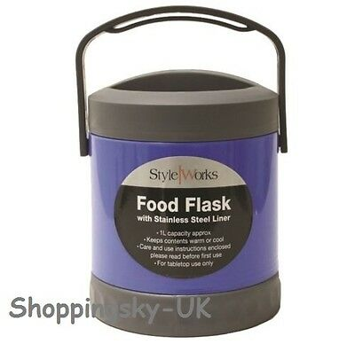 1 Litre Stainless Steel Travel Food Flask Hot & Cold With Handle Top Choice #436