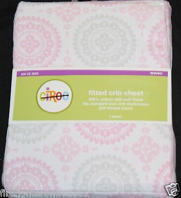 Circo Pink Gray Medallion Fitted Crib Sheet toddler bed sheet nwt