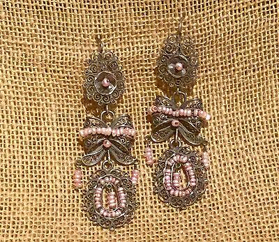 Frida Kahlo Style Sterling Silver Filigree Earrings Pink Pearl from Taxco Mexico