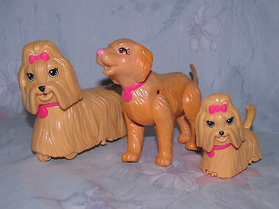 Lot of 3 Barbie Dogs - Shitzu, Golden Lab?  Pink Bows, Collar - Puppies, Animals