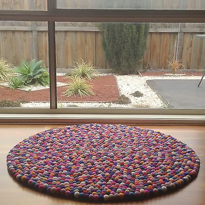New Unique Design Multicolour Wool Felt Ball Rug Kids Nursery Rugs Bright Mat