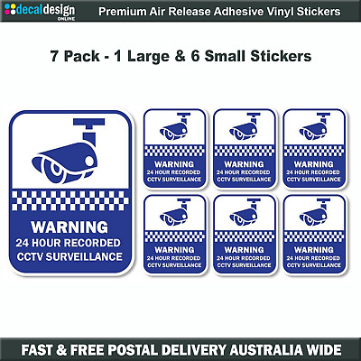 Security Camera CCTV Surveillance warning stickers, home or office 7sticker pack